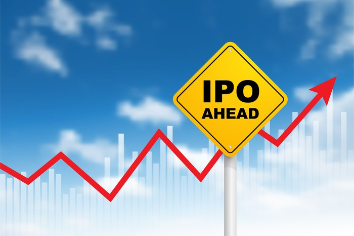 Road sign reads IPO AHEAD over a rising stock chart