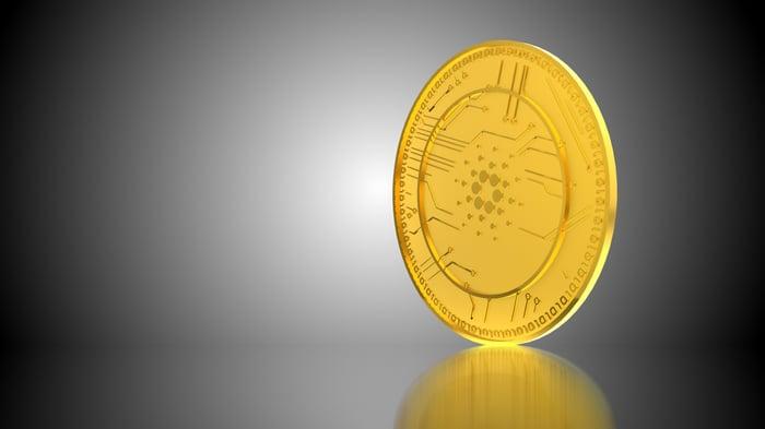 An illustration of a Cardano token.