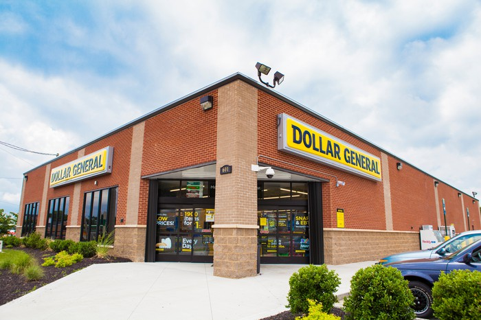 An exterior view of a Dollar General store.
