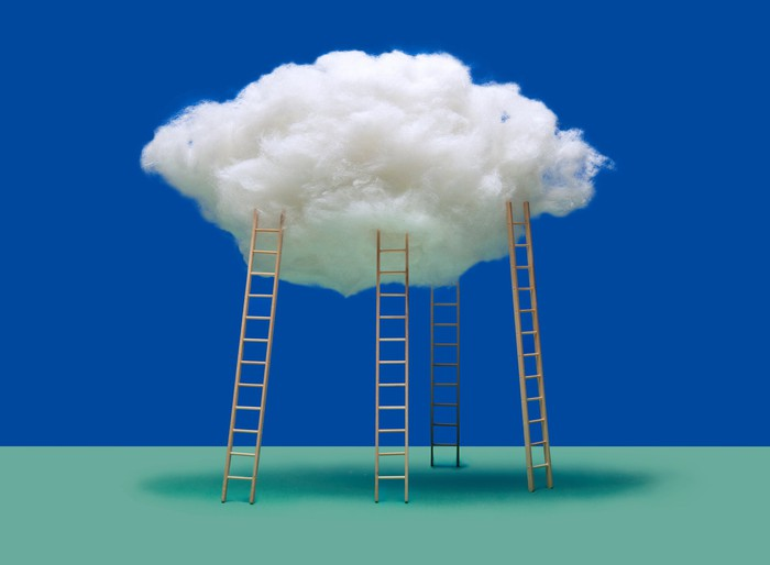 Ladders leading up to a cloud.