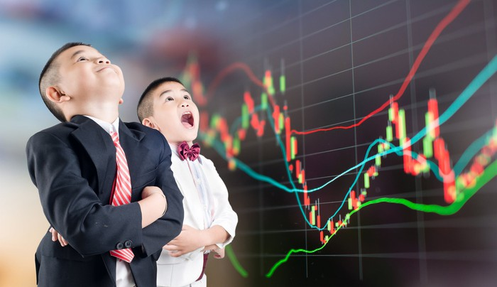 Kids excited about stock market charts recovering