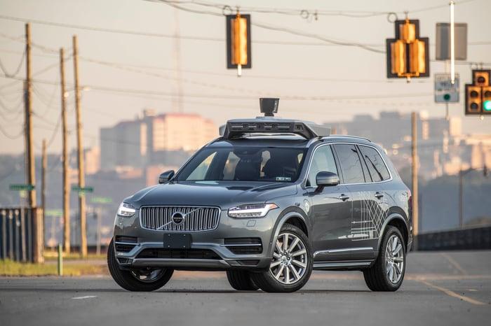 An autonomous vehicle on a city street.