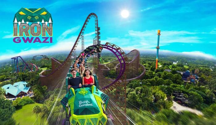 Concept art for Busch Gardens Tampa's Iron Gwazi coaster.