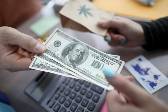 Cash transaction for cannabis products