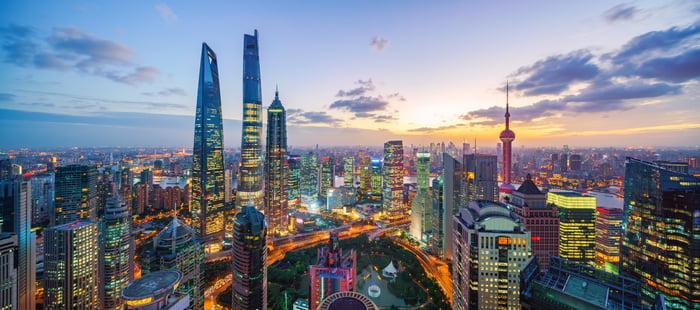A city skyline in Shanghai.