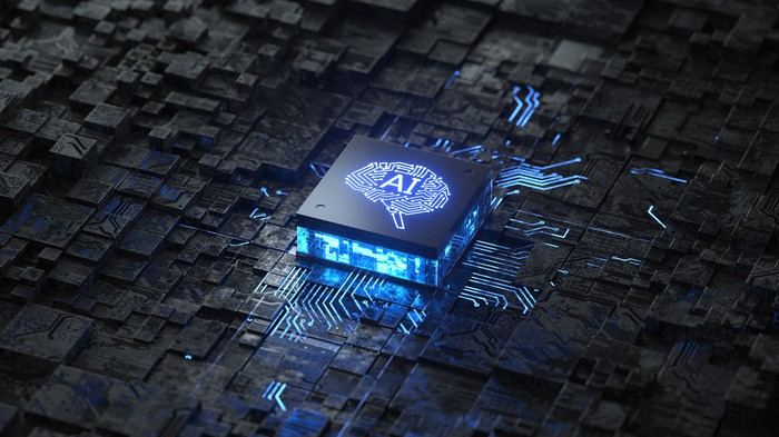 A computer chip that is labeled AI.