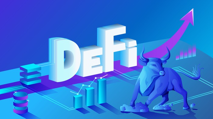 Isometric composition of cryptocurrency and blockchain with DeFi logo.