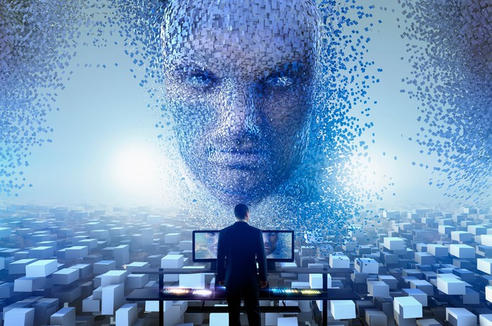 AI face looming over a man at a computer screen