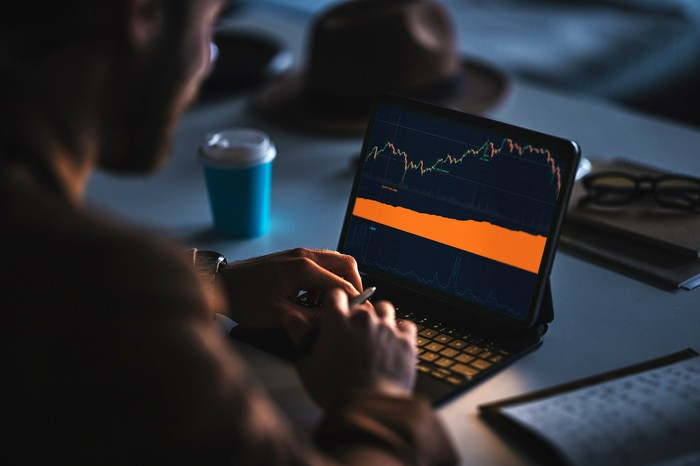 Person looking at a stock market chart on a laptop