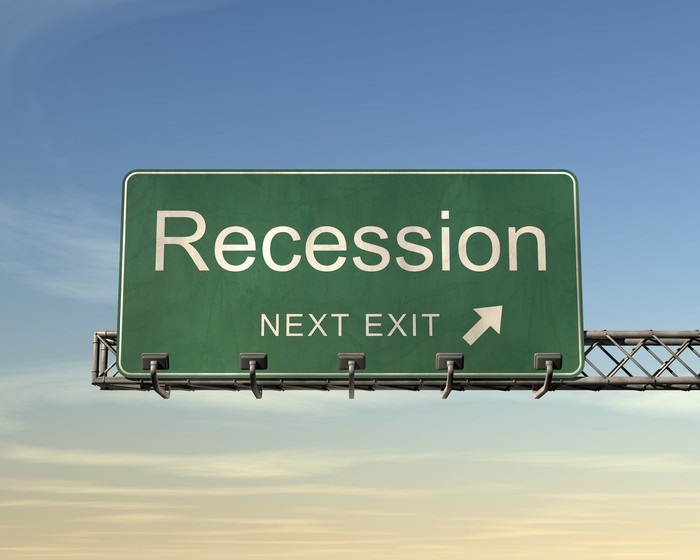 road sign with recession exit