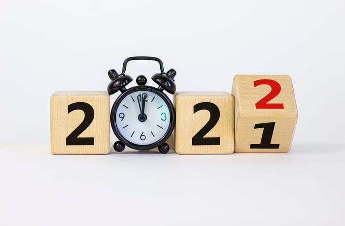 Horloge à blocs passant de 2021 à 2022