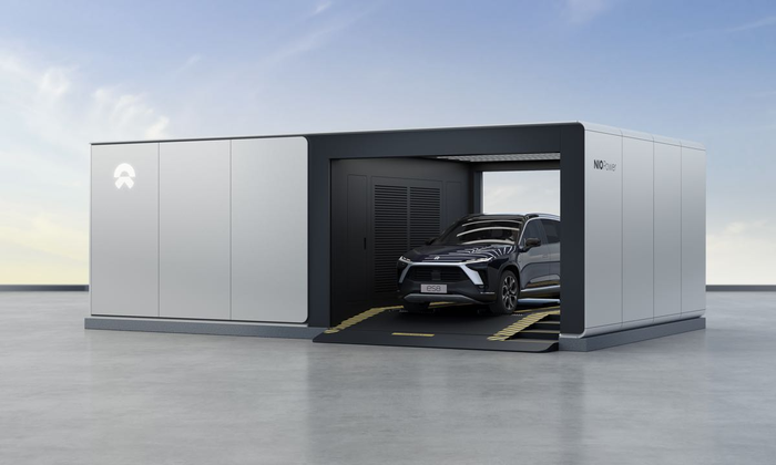 Nio electric vehicle in battery swap station.