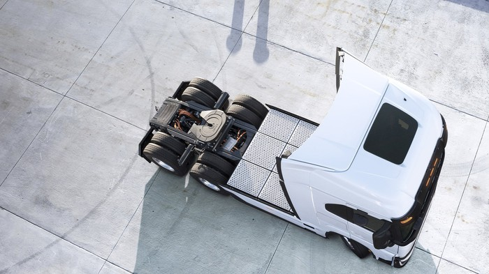View from above of white Nikola Tre battery electric truck.