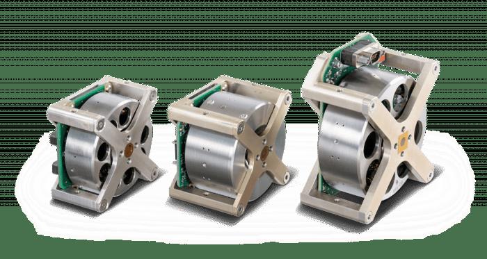 3 reaction wheels of various sizes.