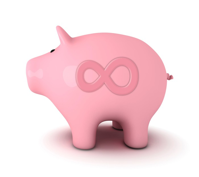 A piggy bank with an infinity symbol on it.