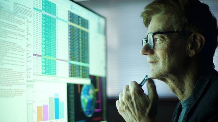Person looking at charts on computer monitor.