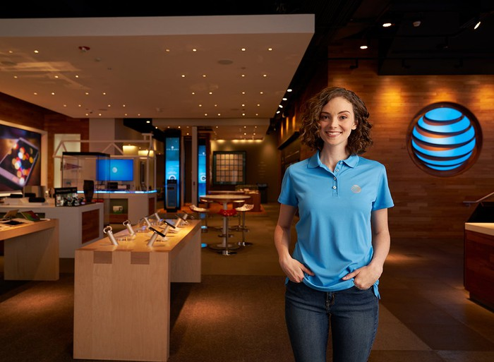 A salesperson at an AT&T retail store.