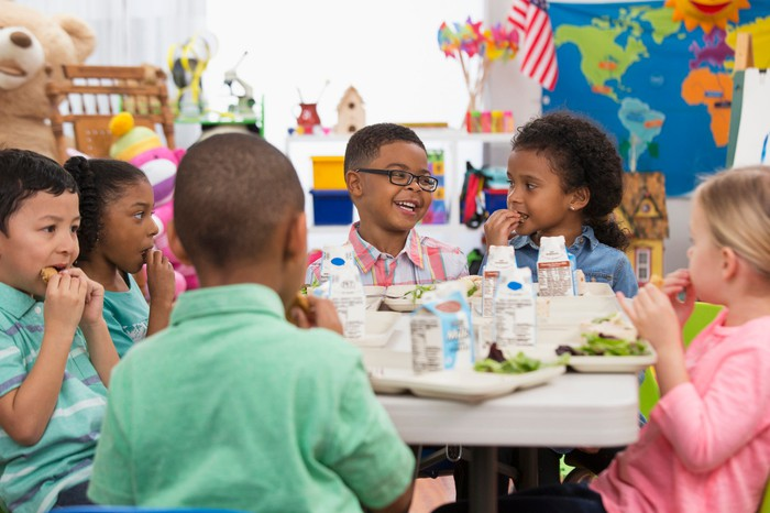 Students eating lunch at school.