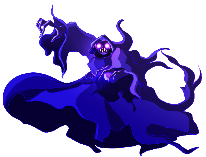 Drawing of a Death Elemental monster (purple with glowing eyes).