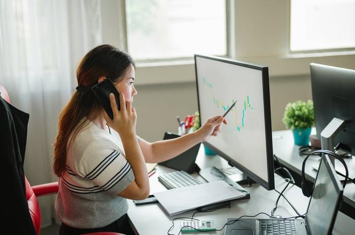 Une personne regardant un graphique boursier sur un écran d'ordinateur.