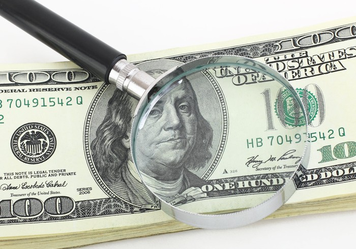 A magnifying glass on hundred-dollar bills.