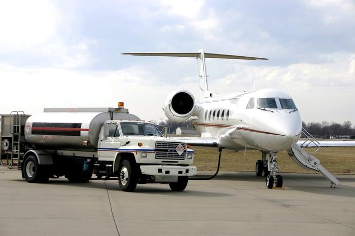 Fuel truck near a private jet.