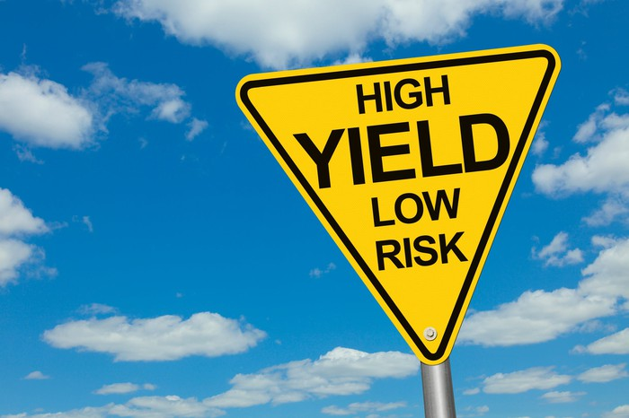 """A yellow road sign that reads """"High Yield Low Risk"""" in black lettering."""
