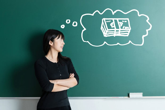 A person standing in front of a chalkboard with a drawing of a thought bubble containing a stack of cash.