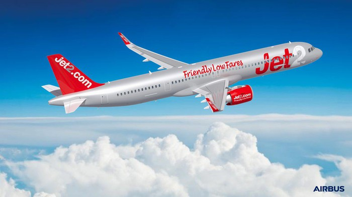 A rendering of an A321neo in the Jet2.com livery.