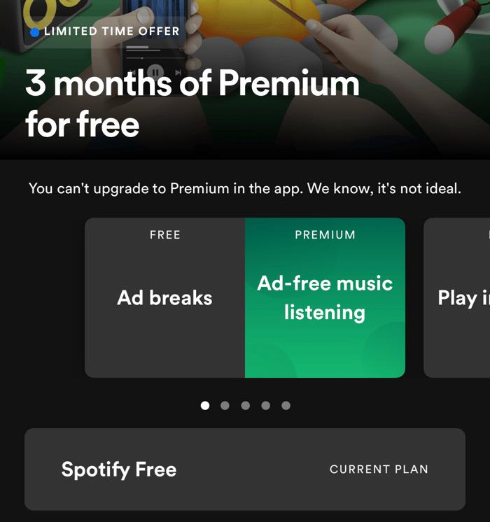 Screen shot of Spotify's premium offering screen.