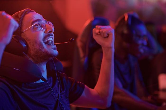 Male gamer cheering