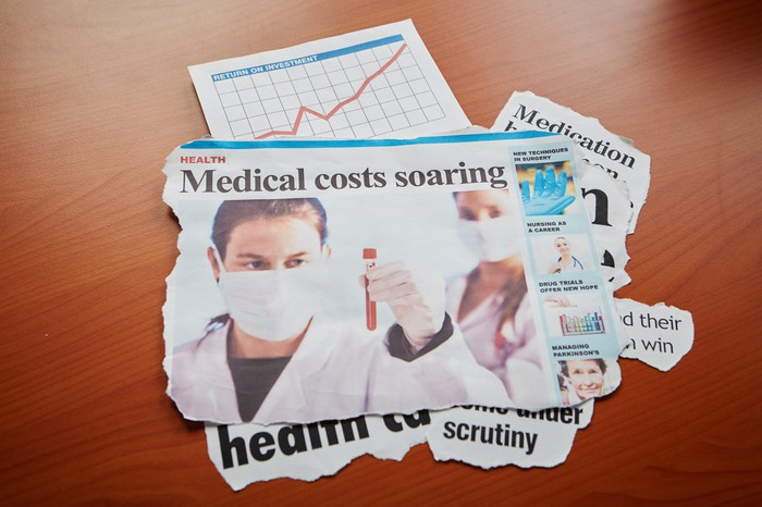 """A newspaper clipping with the headline """"Medical costs soaring."""""""