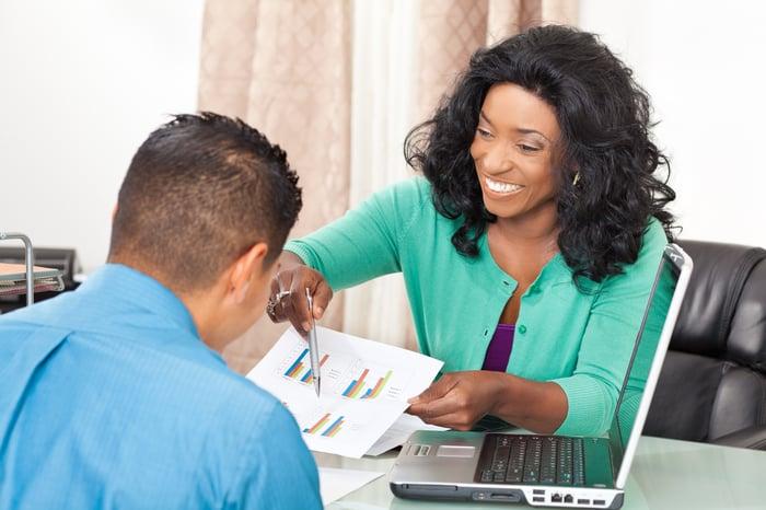 An advisor explaining a financial chart to a client.