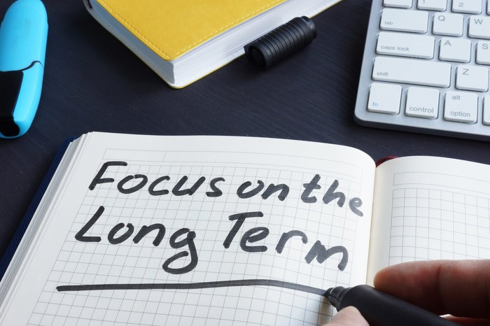 """Person writing """"Focus on the Long Term"""" in a notebook."""