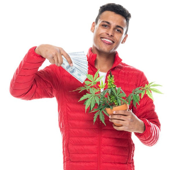 Man holding a marijuana plant in one hand and cash in the other.