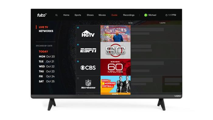 fuboTV app displayed on Vizio smart TV.