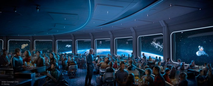 Concept art fo the Space 220 dining room full of patrons and with projections of Earth and other satellites.