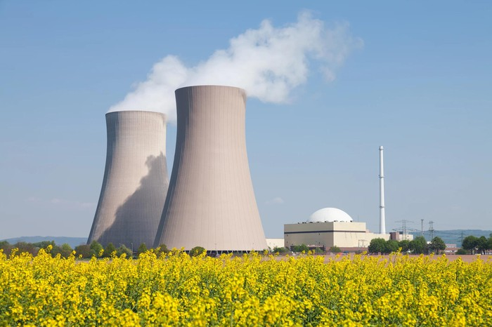 Nuclear power plant behind a field of flowers.