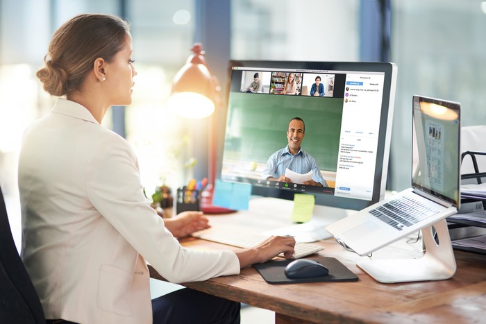 Woman engaged in a videoconference.