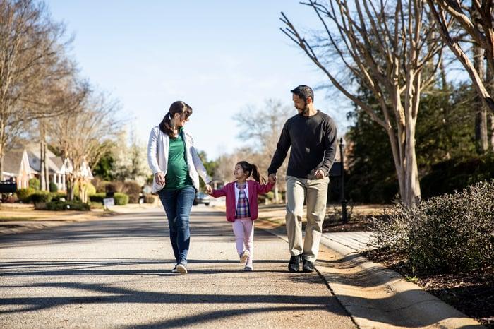 Family walking in a neighborhood.