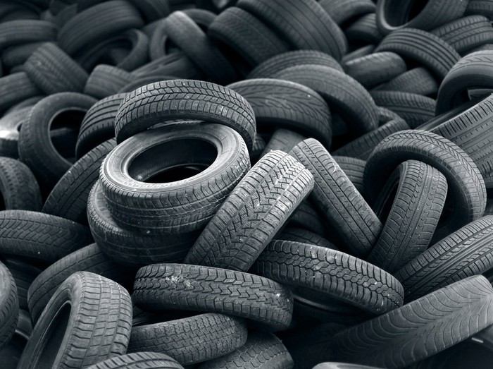 A pile of tires.