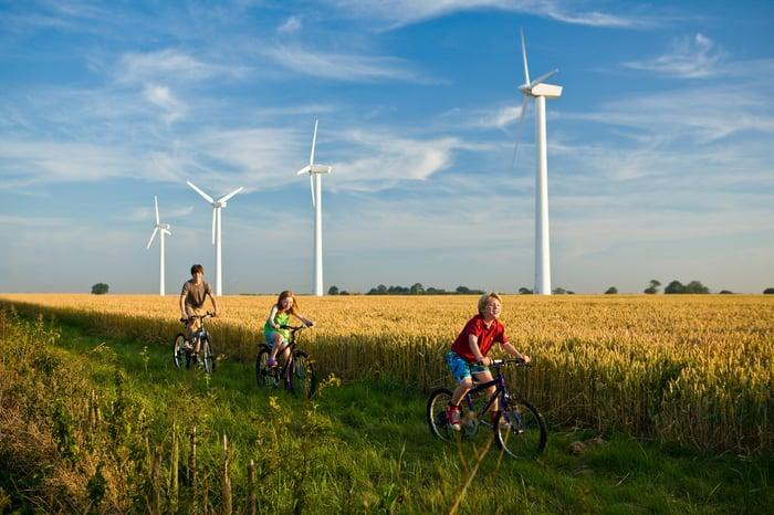 Three children cycling past wind turbines.