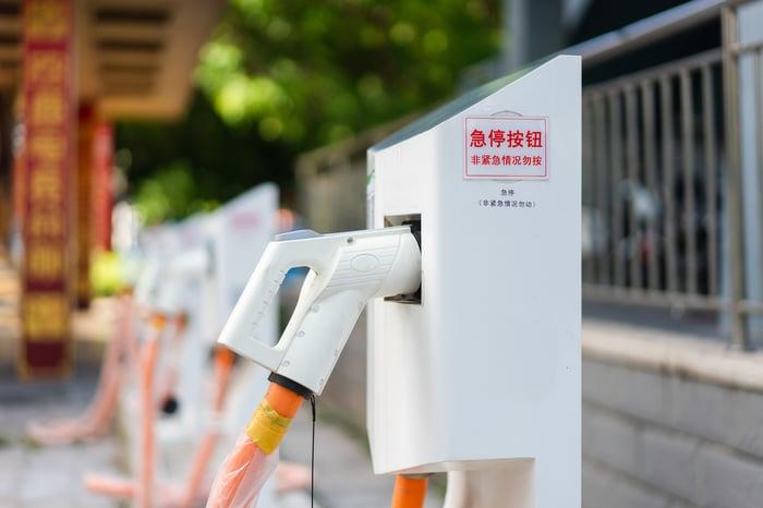 Une pile de recharge ultra-rapide pour les véhicules à énergies nouvelles en Chine.