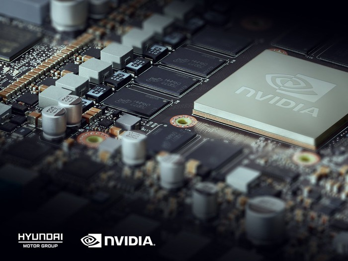 A closeup view shows the Nvidia Drive Platform for use in Hyundai vehicles