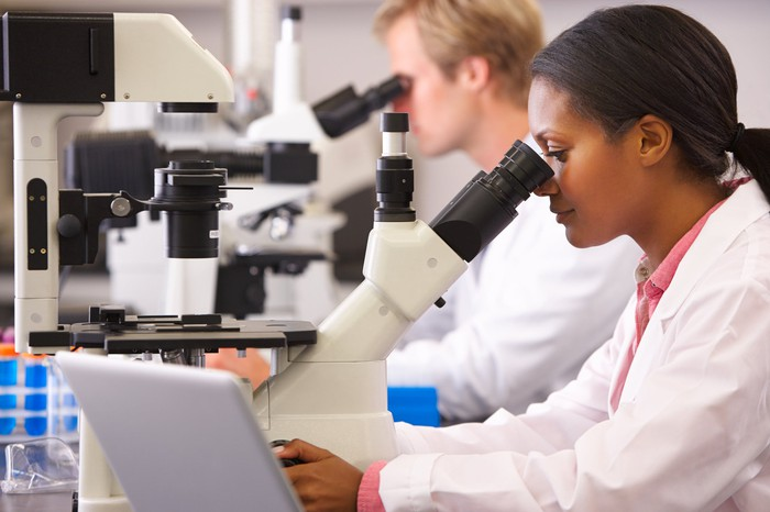 Two scientists looking through microscopes.