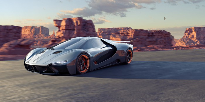 A generic electric sports car driving through a rocky landscape at dusk.