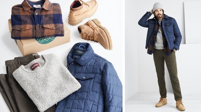 An assortment of men's clothing from Stitch Fix and a person wearing that clothing.