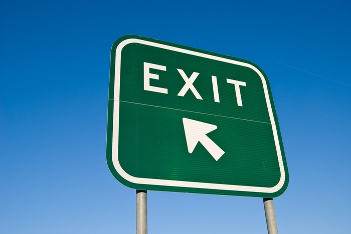 Exit sign on highway.