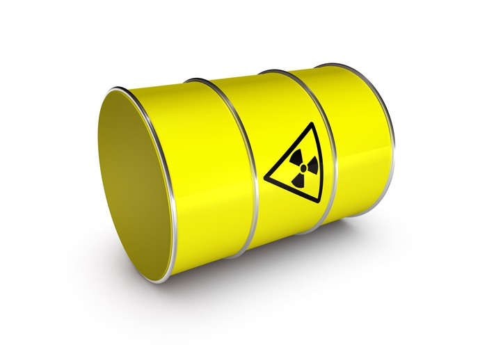 Yellow drum of toxic waste.