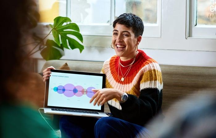 Une femme souriante montrant l'écran sur son ordinateur portable.